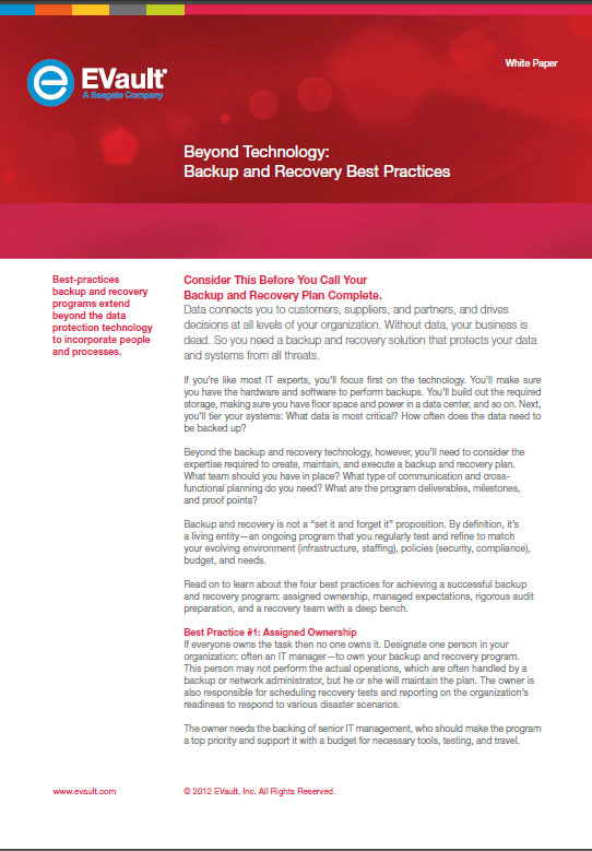 Beyond Technology: Backup and Recovery Best Practices