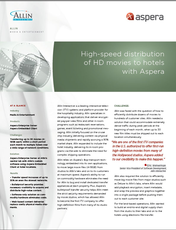 Case Study – High-Speed Distribution of HD Movies to Hotels with Aspera