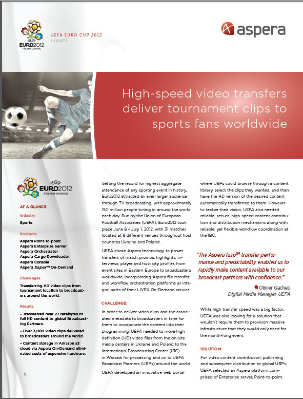 Case Study – High Speed Video Transfers Deliver Tournament Clips to Sports fans Worldwide