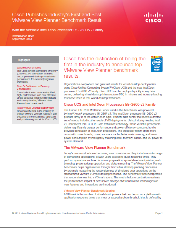 Cisco Publishes Industry's First and Best VMware View Planner Benchmark Result