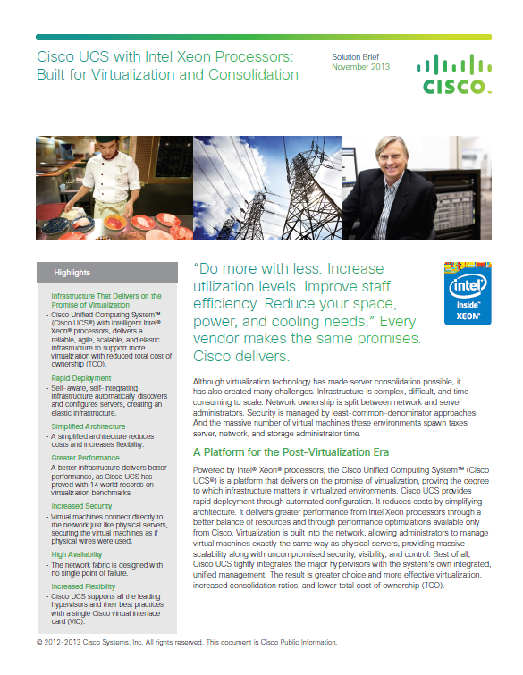 Cisco UCS with Intel Xeon Processors: Built for Virtualization and Consolidation