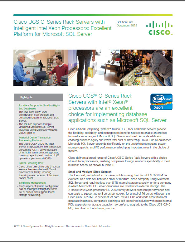 Cisco USCS C-Series Rack Servers With Intelligent Intel Xeon Processors For Microsoft SQL Server