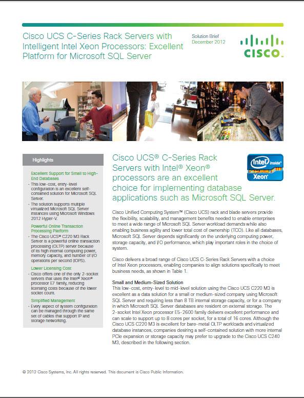 Cisco USCS C-Series Rack Servers With Intelligent Intel Xeon Processors For Microsoft SQL Server