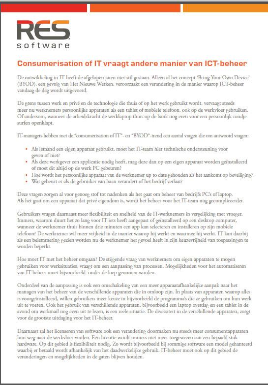 Consumerisation of IT vraagt andere manier van ICT-beheer