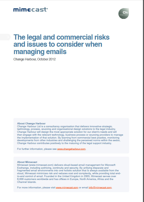 Inbox On Trial: the legal and commercial risks and issues to consider when managing emails