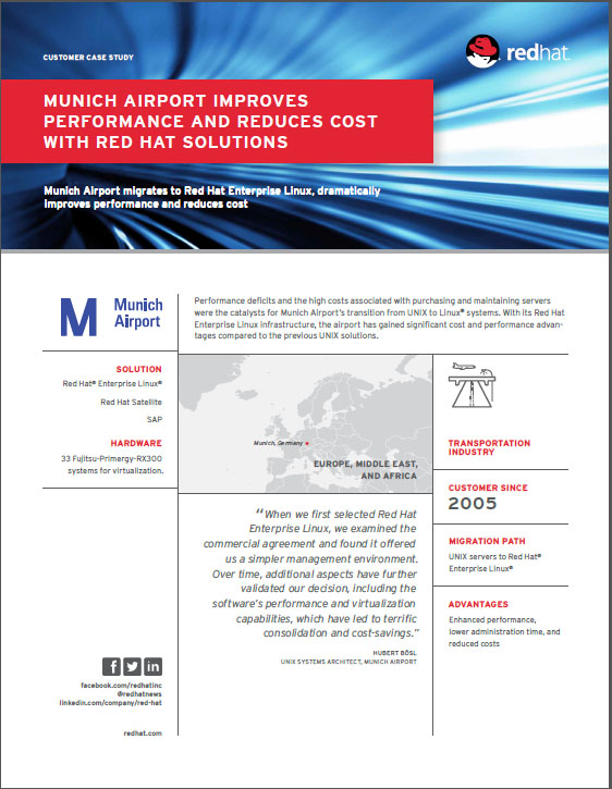 Munich Airport improves performa nce and reduces cost with red hat solutions