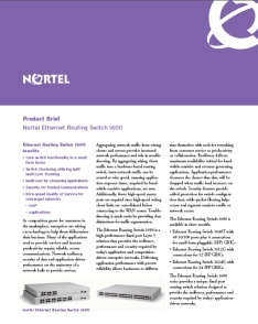 Nortel Ethernet Routing Switch 1600