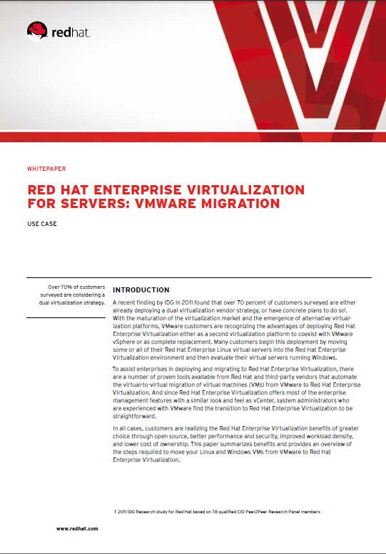 Red Hat Enterprise Virtualisation For Servers: Vmware Migration