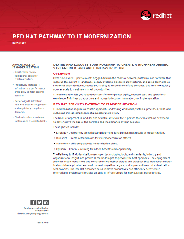 Red Hat Pathway to IT Modernization