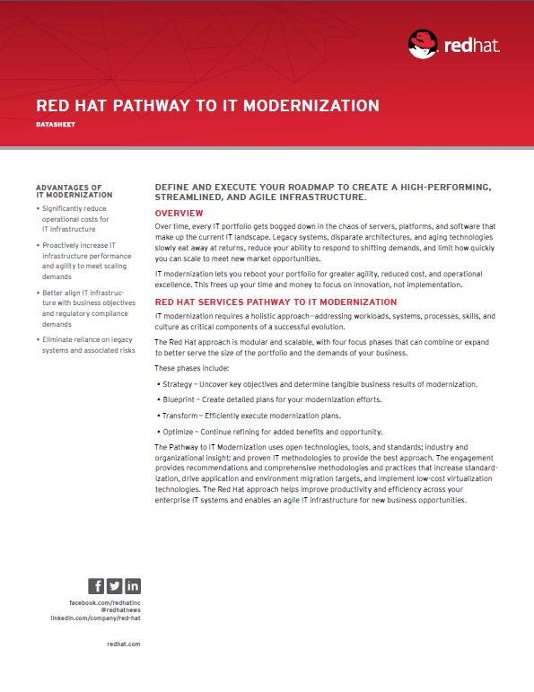 Red Hat Pathway to IT Modernization