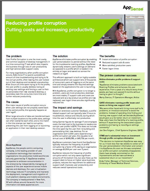 Reducing profile corruption Cutting costs and increasing productivity
