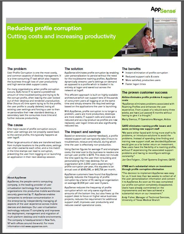 Reducing user logon times Increasing user productivity in the enterprise
