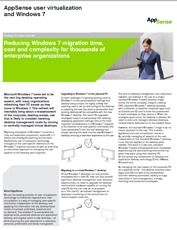 Reducing Windows 7 migration time, cost and complexity for thousands of enterprise organizations