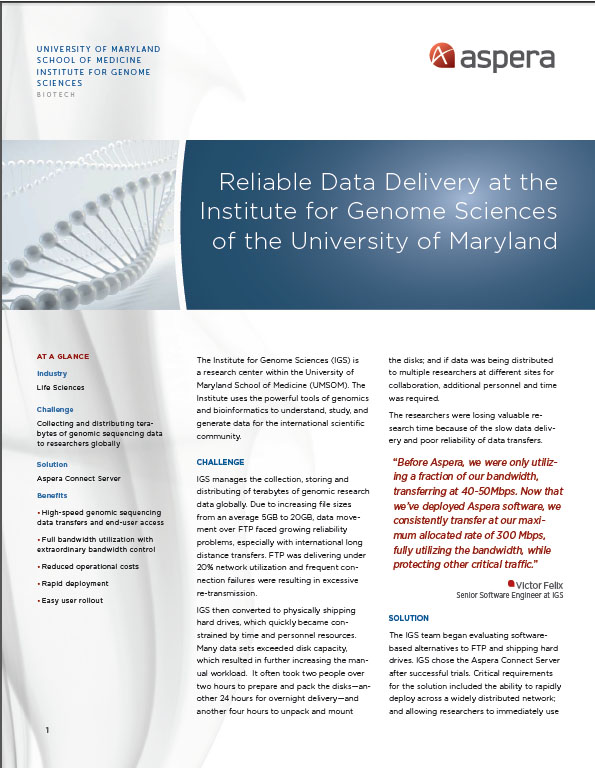 Reliable Data Delivery at the Institute for Genome Sciences of the University of Maryland