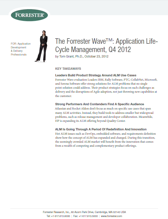 The Forrester Wave™: Application Life- Cycle Management, Q4 2012