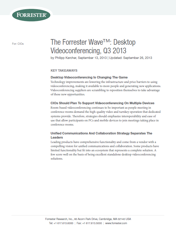 The Forrester Wave™: Desktop Videoconferencing, Q3 2013