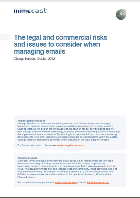 The legal and commercial risks and issues to consider when managing emails