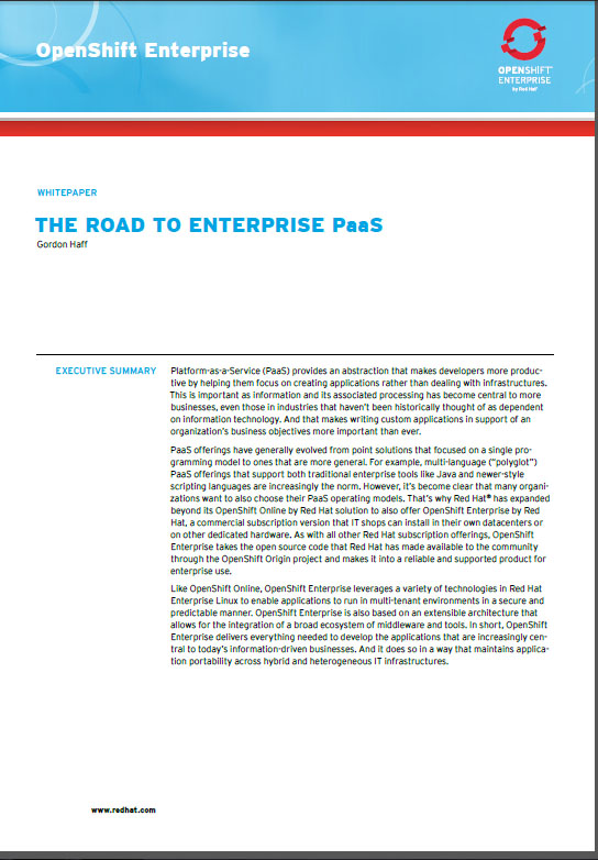 The Road to Enterprise PaaS