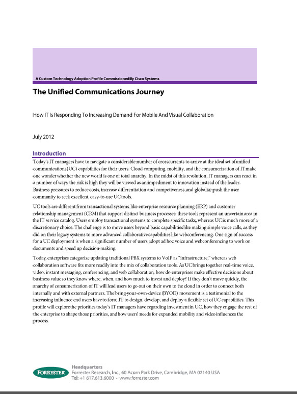The Unified Communications Journey