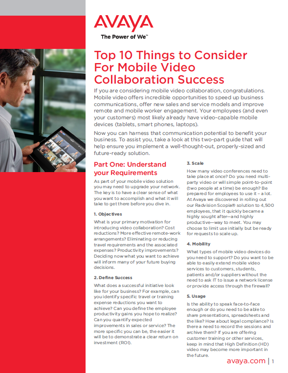 Top 10 Things to Consider For Mobile Video Collaboration Success