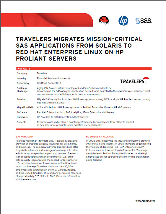 Travelers Migrates Mission-Critical SAS Applications From Solaris to Red Hat Enterprise Linux on HP ProLiant Servers