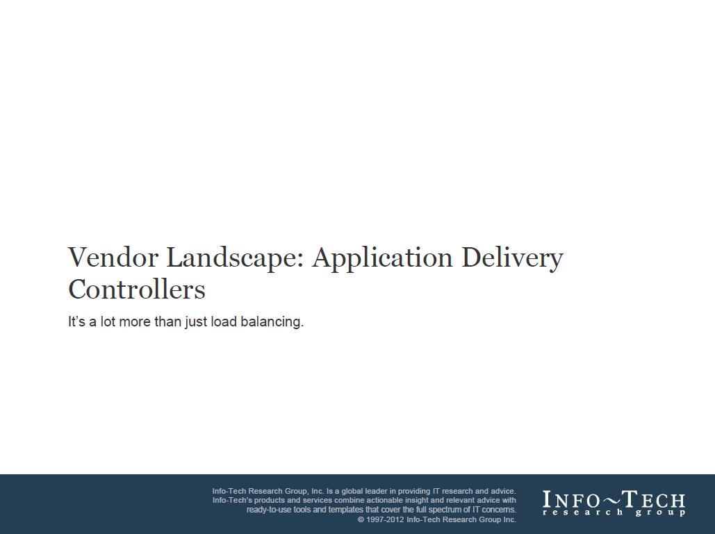 Vendor Landscape: Application Delivery Controllers
