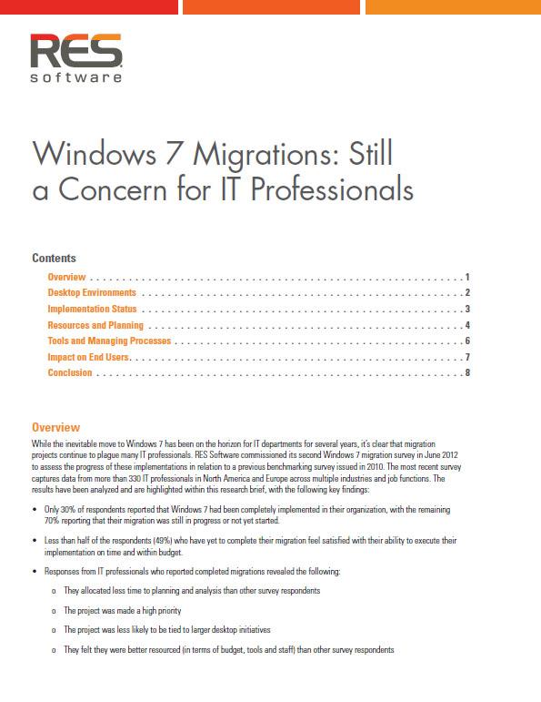 Windows 7 Migrations: Still a Concern for IT Professionals