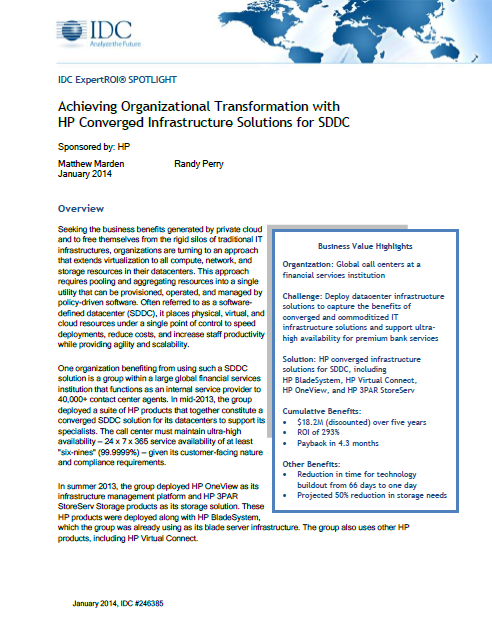 Achieving Organizational Transformation with HP Converged Infrastructure Solutions for SDDC