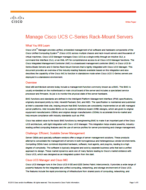 Manage Cisco UCS C-Series Rack-Mount Servers