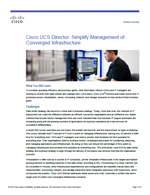 Cisco UCS Director: Simplify Management of Converged Infrastructure