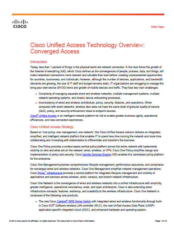 Cisco Unified Access Technology Overview: Converged Access