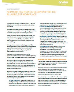 Network rightsizing blueprint for the all-wireless workplace