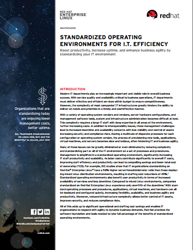 Standardized Operating Environments for I.T. Efficiency