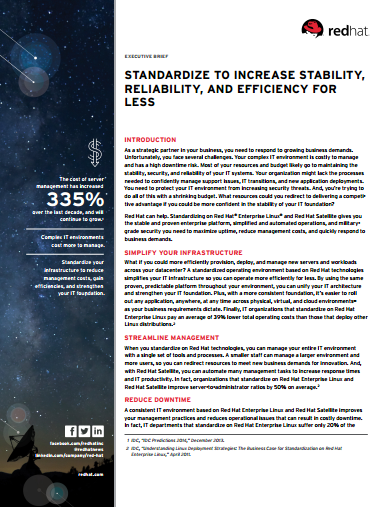 Standardize to Increase Stability, Reliability, and Efficiency for Less