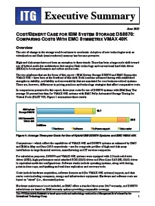 ITG Executive Summary: Cost/Benefit Case for IBM System Storage DS8870: Comparing costs with EMC Symmetrix VMAX 40K