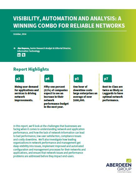 Visibility, automation and analysis: a winning combo for reliable networks