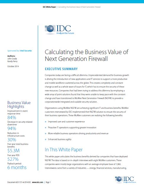 Calculating the Business Value of Next Generation Firewall
