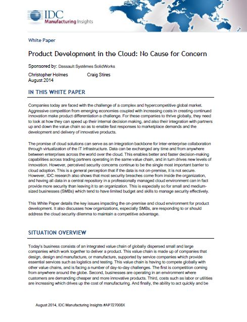 Product Development in the Cloud: No Cause for Concern