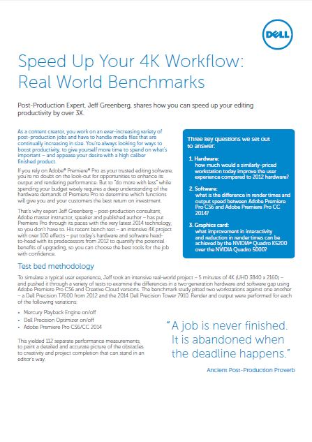 Speed Up Your 4K Workflow: Real World Benchmarks
