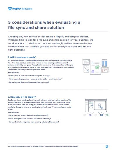 5 considerations when evaluating a  file sync and share solution