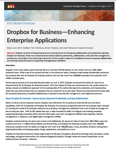 Dropbox for Business—Enhancing  Enterprise Applications