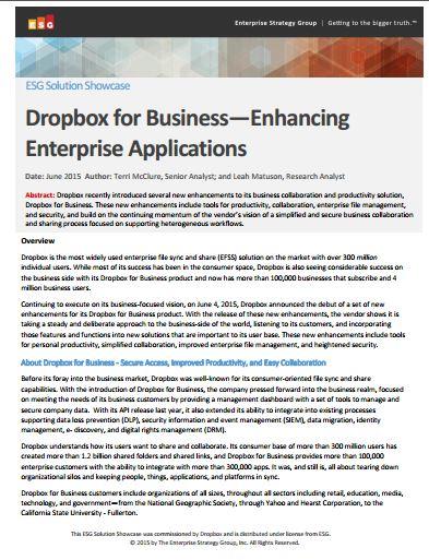 Dropbox for Business—Enhancing  Enterprise Applications