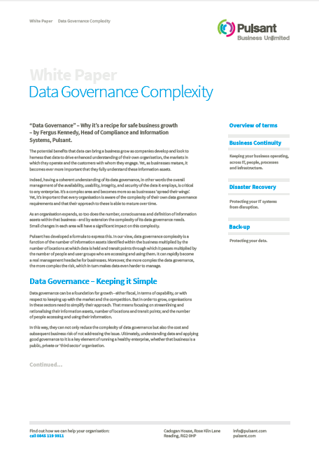 Data Governance Complexity