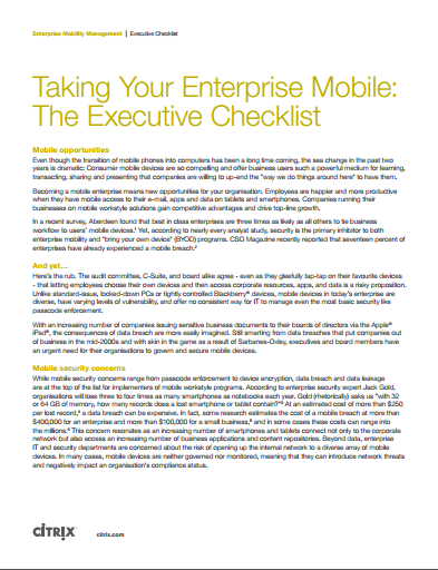 Taking Your Enterprise Mobile:  The Executive Checklist