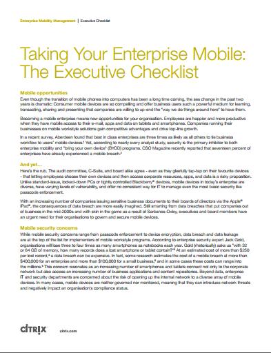 Taking Your Enterprise Mobile:  The Executive Checklist