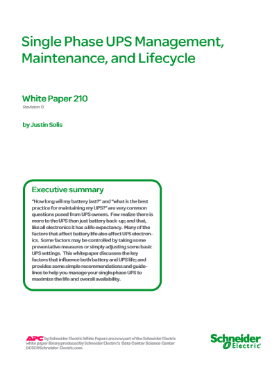 Single Phase UPS Management,  Maintenance, and Lifecycle