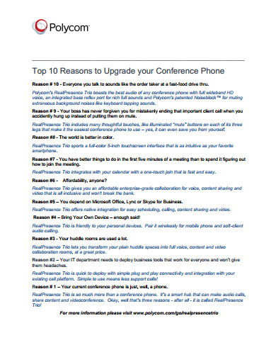 Top 10 Reasons to Upgrade your Conference Phone