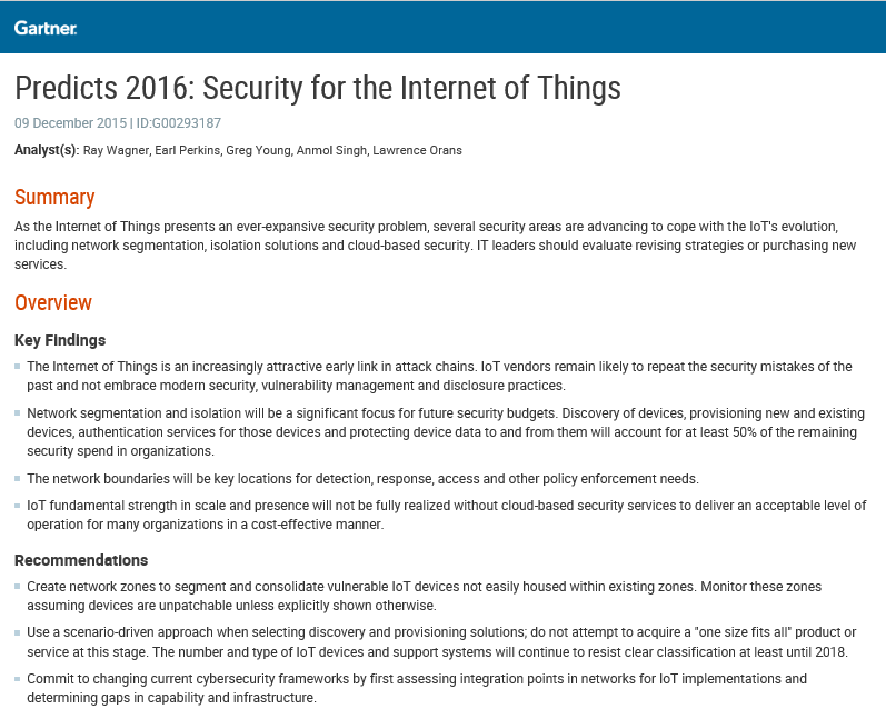Predicts 2016: Security for the Internet of Things