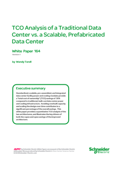 TCO Analysis of a Traditional Data Center vs. a Scalable, Prefabricated Data Center