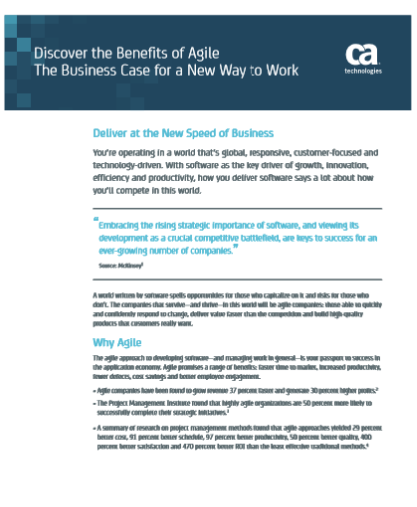 Discover the Benefits of Agile The Business Case for a New Way to Work